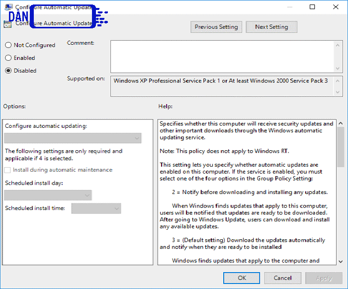 tắt update win 10 bằng Group Policy Editor