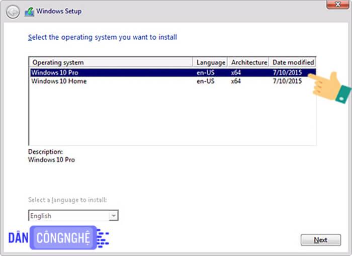 HDH windows mà bạn muốn cài cho máy tính.