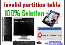 lỗi invalid partition table