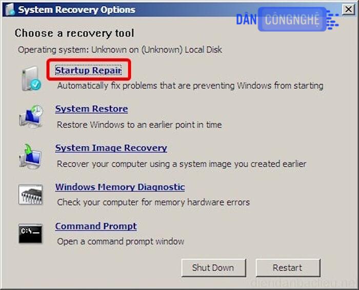 lỗi windows error recovery