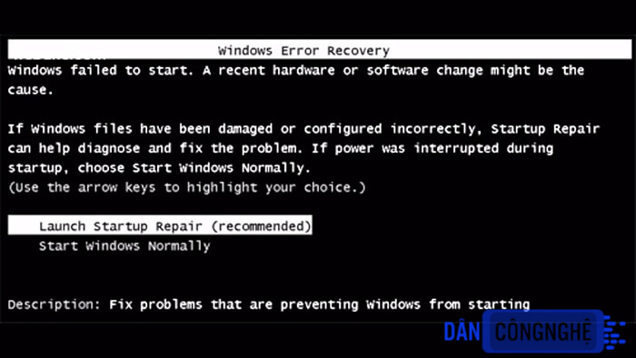 sửa lỗi windows error recovery