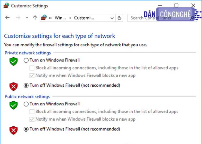 Tắt tính năng tường lửa Windows Firewall 2