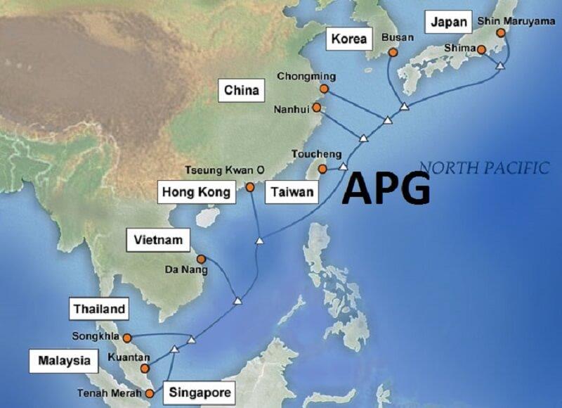 bản đồ hệ thống cáp quang biển apg
